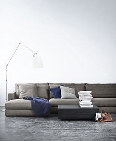 Love the low profile sofa in grey with royal blue accents on a white background. Clean, calm and an inviting place to lounge!
