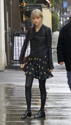 favorite oxfords outfit!. tights, flowy dress, leather jacket