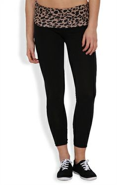 Skinny Yoga Pant with Leopard Print Waistband Yoga Pants Outfit, Fashion Forward, Black Jeans, Cute Outfits, Skinny, Black And White, My Style, Clothes, In Trend