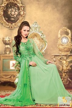 Pavitraa #Green Color Floor Length #Anarkali Salwar Suits