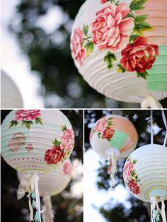 chinese paper lantern decoupage cut out fabric flowers, another brilliant way to jazz up a paper lantern