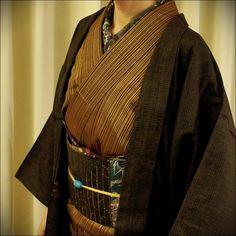 秋田八丈に切りばめの帯 羽織は男物