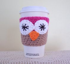 Owl Coffee Cozy / Crochet Cotton Cup Sleeve by amieq on Etsy, $5.00
