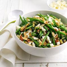 Lemony Almond-Feta Green Beans Recipe