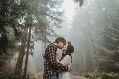seattle flower crown forest engagement session