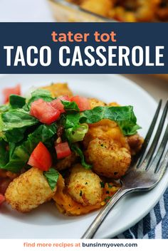 This Taco Tater Tot Casserole packs in all the flavors of a taco and then gets topped off with tots! They bake up so crispy! #taco #tatertot #casserole #mexican Mexican Tater Tot Casserole, Beef Casserole, Casserole Recipes, Soup Recipes, Cooking Recipes, Oven Recipes, Tater Tot Breakfast, Potato Dishes, Appetizer Recipes