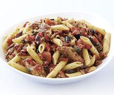 Brown rice/Quinoa pasta --- Penne Rigate with Olives, Roasted Peppers, and Tuna recipe