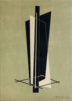 KONSTRUKTION by László Moholy-Nagy 긴 조형 요소들이 하나의 강한 방향성을 가지고 있음에도 조화로운 구성을 이루며 가느다란 사각틀과의 시각적 균형이 인상적이다.