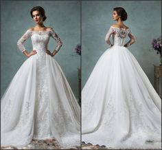 2016 Vintage Lace Wedding Dresses Off The Shoulder Long Sleeve With Tulle Detachable Bridal Gowns Covered Buttons Amelia Sposa Court Train Empire Line Wedding Dresses Uk Tea Line Wedding Dresses From Global_love, $147.04| Dhgate.Com