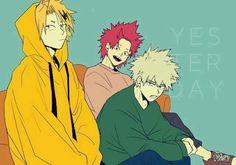 My Hero Academia - Kaminari, Bakugou & Kirishima Boku No Hero Academia, My Hero Academia Memes, Hero Academia Characters, My Hero Academia Manga, Anime Characters, Kirishima Eijirou, Human Pikachu, Estilo Anime, Ichimatsu