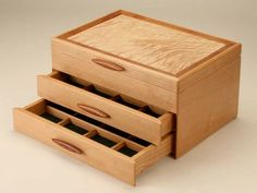 Handmade Wooden Jewelry Boxes for Women and Men - Heartwood Creations Woodworking Box, Woodworking Techniques, Jewellery Storage, Jewelry Organization, Jewelry Box Plans, Storage Hacks, Box Storage, Kitchen Storage, Wooden Jewelry Boxes