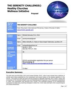 Page 1 of 7 THE SERENITY CHALLENGE© Healthy Churches Wellness Initiative Proposal Working Title of Project THE SERENITY CH...