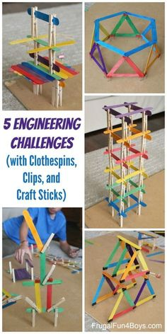 5 Engineering Challenges with Clothespins, Binder Clips, and Craft Sticks. Awesome STEM activity for kids! # home activities for kids boys 5 Engineering Challenges with Clothespins, Binder Clips, and Craft Sticks - Frugal Fun For Boys and Girls Kid Science, Stem Science, Science Games For Kids, Science Week, Science Crafts, Math Games, Play Doh Games, Science Experiments For Kids, Art Games For Kids