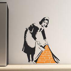 Banksy Maid Sweeping Wall Sticker
