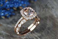 CA$774.99 Rose Brilliant Morganite Cushion Cut Engagement Ring Set of 2 in 14k Rose Gold, Art Deco Wedding Band, Stacking Ring, Bridal Set by Sapheena