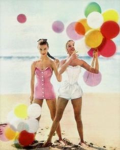 vintage models on the beach with balloons