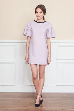 Wool Tweed Ruffle sleeve dress  https://www.etsy.com/listing/175838052/glitter-embellished-collar-dress-purple?