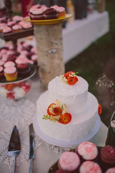 simple white flower accented cake