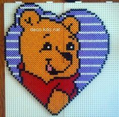 Winnie the Pooh hama perler beads by Deco. Hama Beads Design, Diy Perler Beads, Pearler Bead Patterns, Perler Patterns, Perler Bead Disney, Motifs Perler, Peler Beads, Cross Stitch Bookmarks, Melting Beads