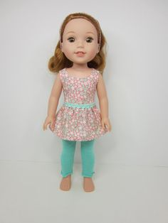 14.5 inch doll clothes Pretty peach and aqua by JazzyDollDuds