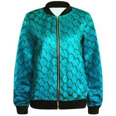 Turquoise Sexy Womens Mermaid Scale Printed Long Sleeve Jacket (€24) ❤ liked on Polyvore featuring outerwear, jackets, tops, turquoise, sexy jackets, long sleeve jacket, turquoise jacket and blue jackets