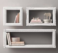 DIY SHELVES Find frames from a thrift store, attach wood to all sides, paint and hang on wall. New and creative shelves Diy Home Decor, Room Decor, Nursery Decor, Project Nursery, Baby Decor, Nursery Ideas, Diy Casa, Ideas Geniales, Home And Deco
