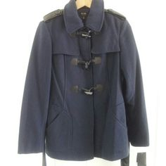 Final Price : Nicole by Nicole Miller Peacoat New with tags, blue w/ faux black leather details, snaps and toggles closed, heavy weight. * price is firm * Nicole by Nicole Miller Jackets & Coats