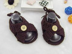 Handmade Chocolate Crocheted Baby Sandals, High Quality Crochet Baby Boy Sandals with Button to Open