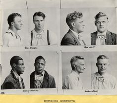 "These mug shots were taken by the Warren, Ohio police department during the 1937 ""Little Steel"" Strike. On June 24, 1937 two bombs exploded near Republic Steel's Warren Plant."