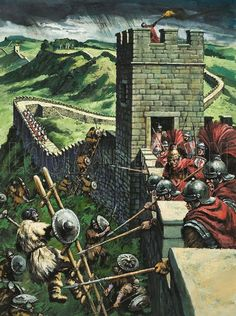 An futile attempt to pass Hadrian's wall. More soldiers are marching to the skirmish to reinforce the other soldiers holding the wall.