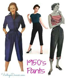 A fun look at the history of women's 1950s pants including cigarette pants, capri pants, denim blue jeans or dungarees, and western slacks. Description from pinterest.com. I searched for this on bing.com/images