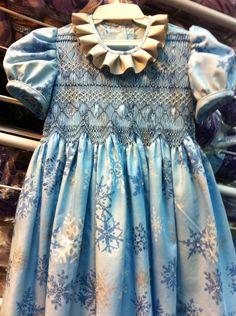 "Christmas dress, smocked . ""Frozen""."