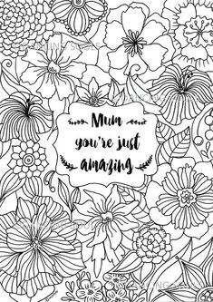 mothers day gift hand drawn coloring page mothers day quote instant download flower pattern printable coloring page flower page
