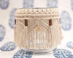 Macrame, Macrame Jar, Macrame Candleholder, Macrame Vase, Boho Decor, Boho Style, Home Decore, Candle holder, Vase