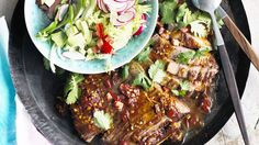 Neil Perry's warm steak salad with chipotle dressing; great for lazy summer meals!