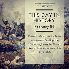 This day in History: February 24 Revolution breaks out in Baire a town near Santiago de Cuba beginning the Cuban War of Independence on this day in 1895.  #thisday #thisdayinhistory #february #febrero #history #hispanichistory #hispanicheritage #genealogy #shhar #shharorganization #somosprimos #wearecousins #hispanicgenealogy #newspain #nuevaespana #newworld  #baire #santiagodecuba #cubanwar #cuba
