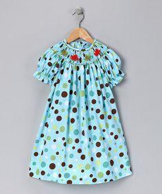 Turquoise Polka Dot Leaves Bishop Dress