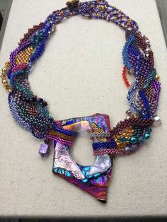 Necklace by Angel Moore Boyd - with lampwork focal by Karen.