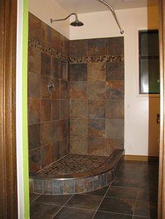 Curved bathroom shower