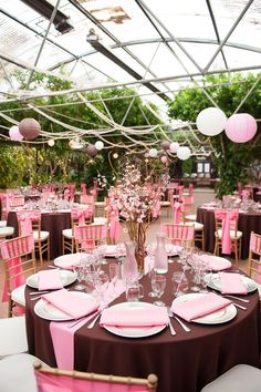 Pink and Brown Japanese Cherry Blossom Themed Wedding