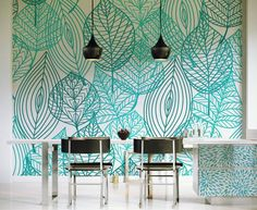 Browse images of Turquoise Modern Dining room designs: Light Sky. Find the best photos for ideas & inspiration to create your perfect home. Source by Browse images of Turquoise Mod… Dining Room Walls, Dining Room Design, Dining Set, Vinil Wallpaper, Grey Wallpaper, Modern Wallpaper, Wallpaper Inspiration, Inspiration Wall, Design Seeds