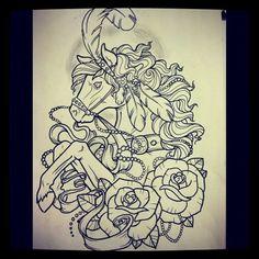 Horse tattoo linework by lynntattoos.deviantart.com on @deviantART