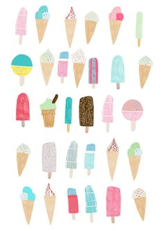 We All Scream For Ice-cream!     This gorgeous, summery print by Hanna Melin is sure to transport you to beach holidays and sweet sticky aft...