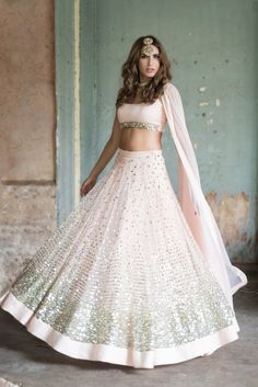 Buy light pink Color with astute resham & zari work designer lehenga choli online.This set is features a light pink blouse in silk with sequin work.It has matching light pink lehenga in net with beautiful embroidery all over and light pink dupatta in Indian Bridal Fashion, Indian Wedding Outfits, Bridal Outfits, Indian Outfits, Wedding Attire, Lehenga Wedding, Punjabi Wedding, Indian Clothes, Bridal Wedding Dresses