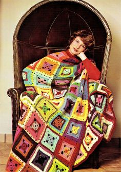 Crochet Pattern  Vintage 70s GRANNY SQUARE by KinsieWoolShop, $3.20