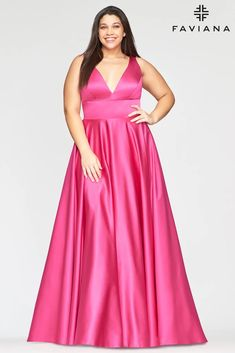 Faviana 9496 Long Formal Plus Size Prom Gown | The Dress Outlet Plus Prom Dresses, Faviana Dresses, Plus Size Long Dresses, Prom Dresses With Pockets, Plus Size Gowns, Designer Prom Dresses, Satin Dresses, Wedding Dresses, Perfect Prom Dress