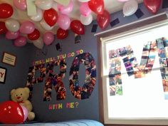 OMG they're pictures of him and his girlfriend together and they spell out prom! how cute!!