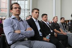 Zach Parise, Jamie Langenbrunner, Patrik Elias and Martin Brodeur at Ilya Kovalchuk's press conference. Mmmm I'll take each of them!