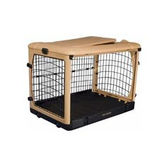Pet Gear Deluxe Steel Dog Pet Safety Home Travel Crate With Rest Pad Sleeping Mat - Medium ** For more information, visit now : Dog cages