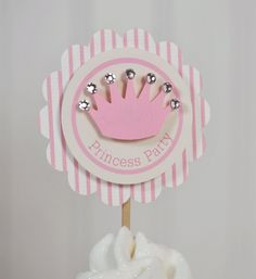 Princess Party Pink Cupcake Toppers